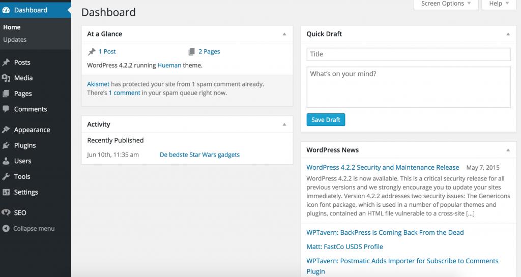 1 WordPress første gang du logger ind