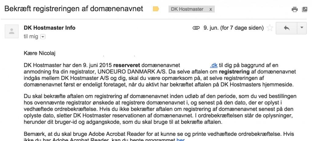 7 E-mail fra DK hostmaster