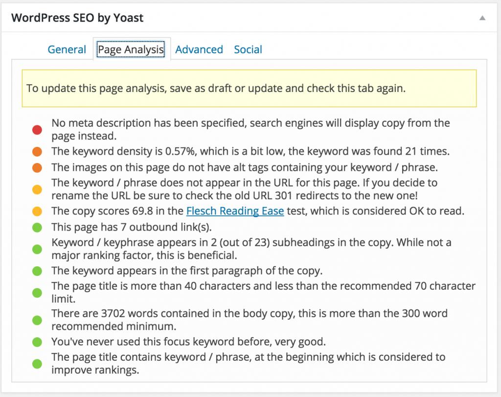 Yoast analyse af dit blogindlæg
